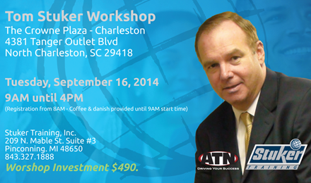 Tom Stuker to Host Sales Training Workshop in South Carolina